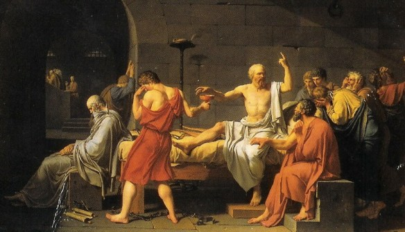 Socrates, corrupter of youth, casually taking his last drink