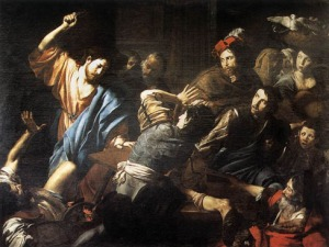 """You get 'em, Jesus!"" (In the temple, driving out the money changers)"